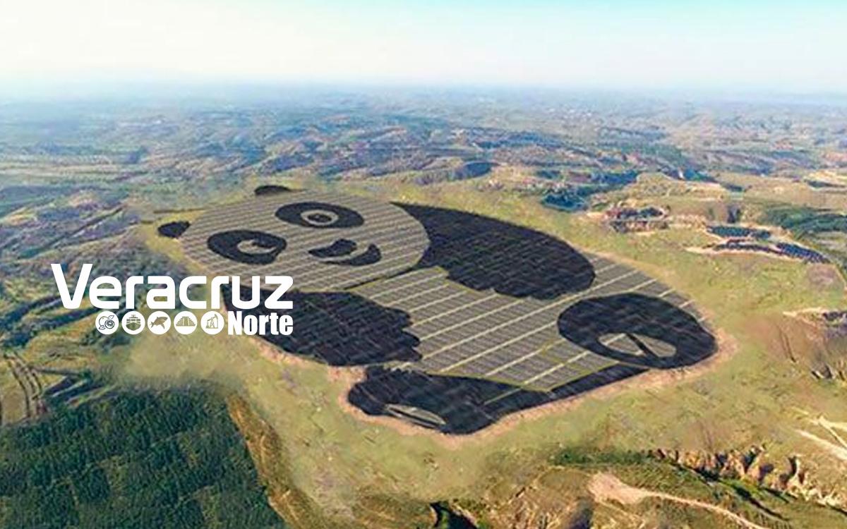 Granja solar con la forma de panda en China