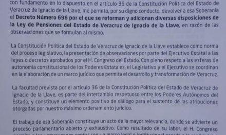 El Gobernador Yunes envió al Congreso observaciones a la Ley del Instituto de Pensiones del Estado