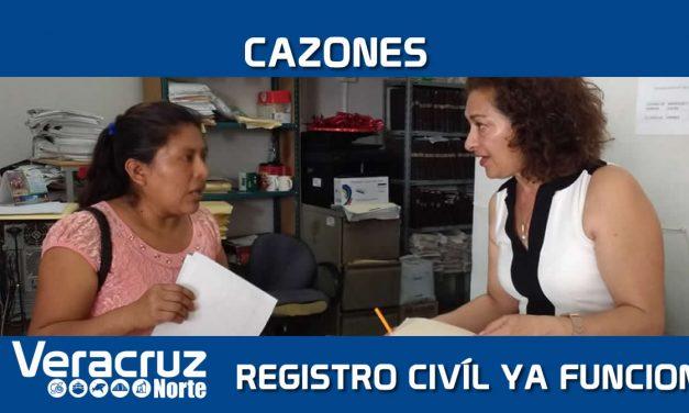 CAZONES: Reanudan actividades en el registro civil