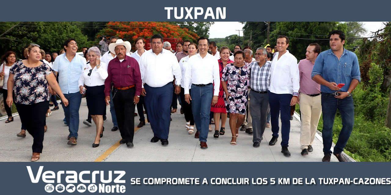 GOBERNADOR SE COMPROMETE A CONCLUIR LOS 5 KM DE LA TUXPAN-CAZONES