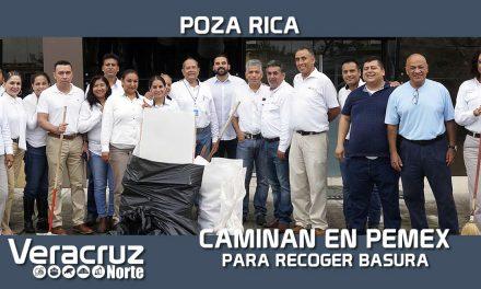 Efectuaron trabajadores de Pemex caminata para recolectar basura