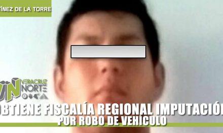 OBTIENE FISCALÍA REGIONAL XALAPA IMPUTACIÓN POR ROBO