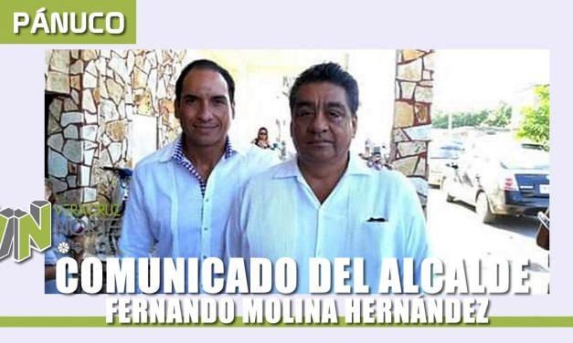 COMUNICADO DEL ALCALDE FERNANDO MOLINA HERNÁNDEZ