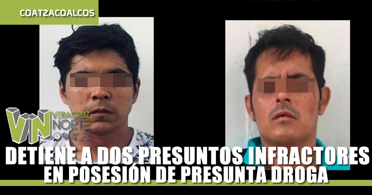 DETIENE A DOS PRESUNTOS INFRACTORES DE LA LEY