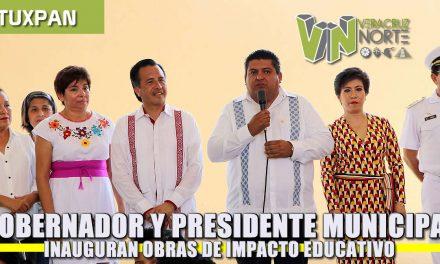 Gobernador y Presidente Municipal inauguran obras de impacto educativo