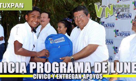 Inicia programa de lunes cívico y entregan apoyos en escuelas