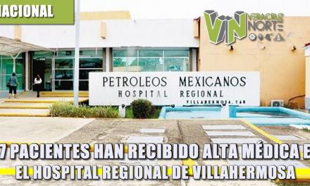 47 pacientes han recibido alta mÉdica en el hospital regional de villahermosa