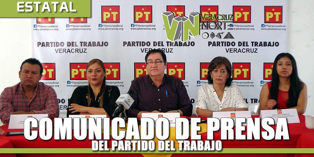 COMUNICADO DE PRENSA DEL COORDINADOR DE LA COMISIÓN EJECUTIVA VICENTE AGUILAR AGUILAR DEL PARTIDO DEL TRABAJO