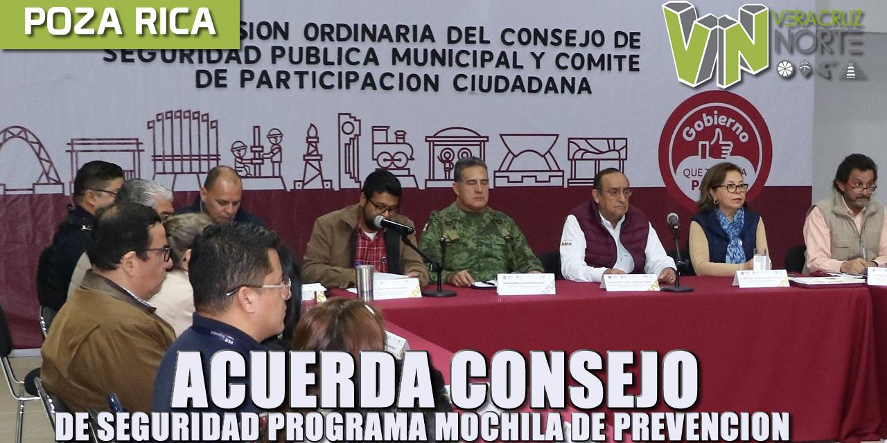 ACUERDA CONSEJO DE SEGURIDAD PROGRAMA MOCHILA DE PREVENCIÓN