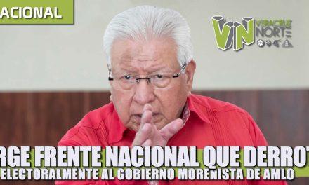 Urge un frente nacional que derrote electoralmente al gobierno morenista de AMLO