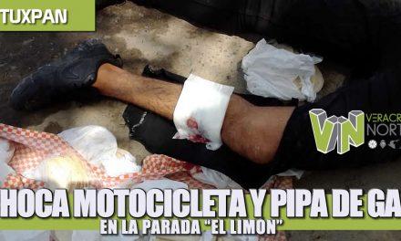 CHOCAN MOTOCICLETA Y PIPA DE GAS EN LA PARADA «EL LIMÓN»