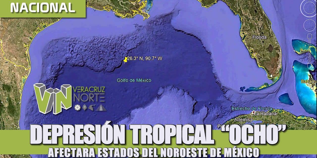 """DEPRESIÓN TROPICAL  """"OCHO"""", AFECTARA ESTADOS DEL NOROESTE DE MÉXICO."""