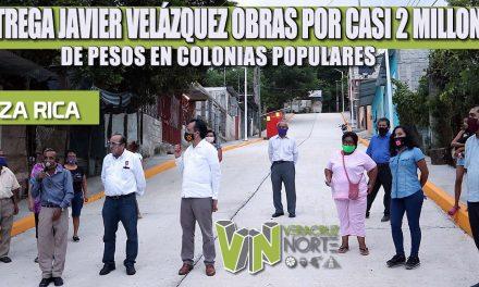 ENTREGA JAVIER VELÁZQUEZ OBRAS POR CASI 2 MILLONES DE PESOS EN COLONIAS POPULARES