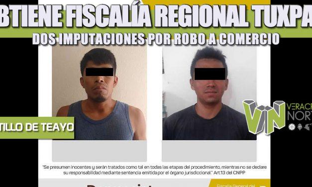 OBTIENE FISCALÍA REGIONAL TUXPAN DOS IMPUTACIONES POR ROBO A COMERCIO