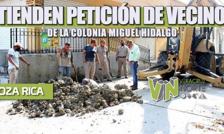 ATIENDEN PETICIÓN DE VECINOS DE LA COLONIA MIGUEL HIDALGO