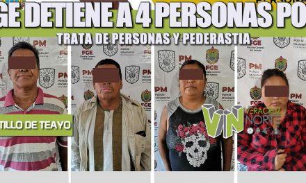 FGE DETIENE A 4 PERSONAS POR TRATA DE PERSONAS Y PEDERASTIA