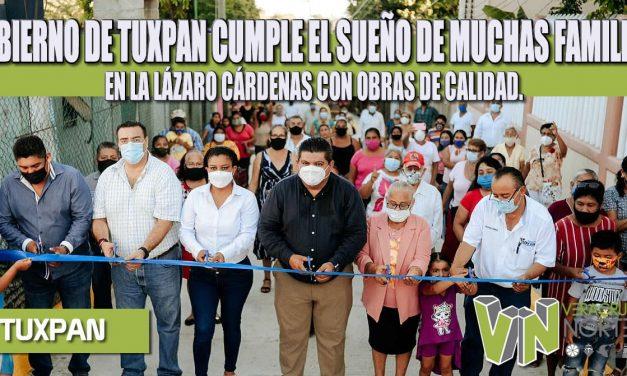 GOBIERNO DE TUXPAN CUMPLE EL SUEÑO DE MUCHAS FAMILIAS EN LA LÁZARO CÁRDENAS CON OBRAS DE CALIDAD.