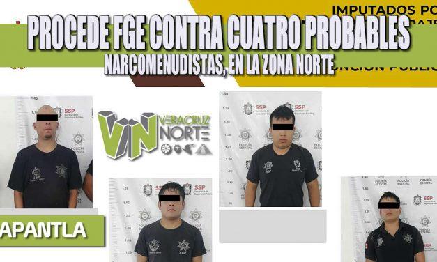 PROCEDE FGE CONTRA CUATRO PROBABLES NARCOMENUDISTAS, EN LA ZONA NORTE