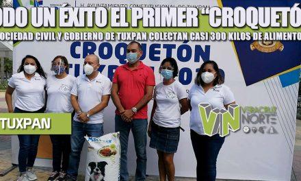 """TODO UN ÉXITO EL PRIMER """"CROQUETÓN"""", SOCIEDAD CIVIL Y GOBIERNO DE TUXPAN COLECTAN CASI 300 KILOS DE ALIMENTOS"""