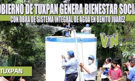 GOBIERNO DE TUXPAN GENERA BIENESTAR SOCIAL CON OBRA DE SISTEMA INTEGRAL DE AGUA EN BENITO JUÁREZ