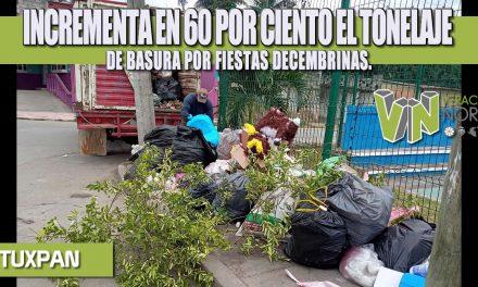 INCREMENTA EN 60 POR CIENTO EL TONELAJE DE BASURA POR FIESTAS DECEMBRINAS