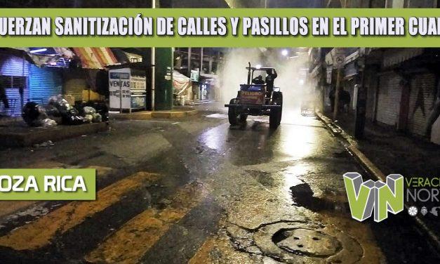 REFUERZAN SANITIZACIÓN DE CALLES Y PASILLOS EN EL PRIMER CUADRO