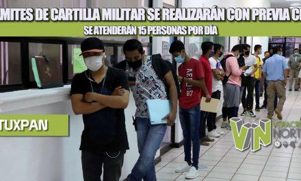 TRÁMITES DE CARTILLA MILITAR SE REALIZARÁN CON PREVIA CITA, SE ATENDERÁN 15 PERSONAS POR DÍA