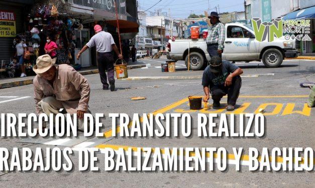 DIRECCIÓN DE TRANSITO REALIZÓ TRABAJOS DE BALIZAMIENTO Y BACHEO