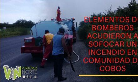 ELEMENTOS DE BOMBEROS ACUDIERON A SOFOCAR UN INCENDIO EN COMUNIDAD DE COBOS